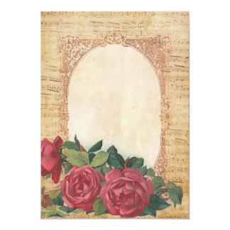 Música & convites dos rosas convite 12.7 x 17.78cm