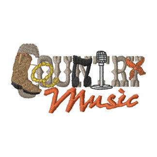 Música country camiseta bordada polo