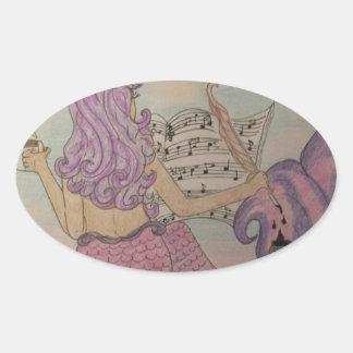 Música da sereia adesivo oval
