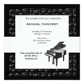 Música de concerto convite quadrado 13.35 x 13.35cm