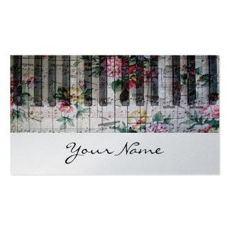 música de papel do vintage do teclado do pianista cartão de visita
