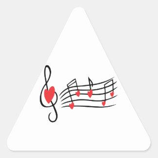 Música do amor adesivo triangular