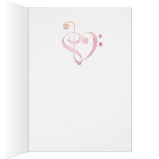 Música do amor cartão de nota