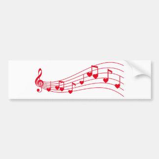 música do amor, notas musicais com corações adesivo