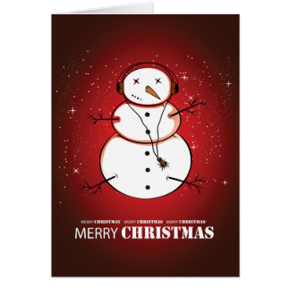 Música do boneco de neve do Feliz Natal Cartão Comemorativo
