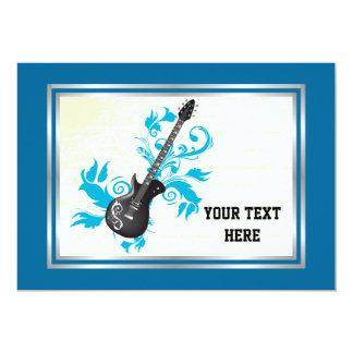 Música do costume da guitarra elétrica convite 12.7 x 17.78cm