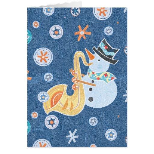 Música do feriado do Natal do fazer do boneco de Cartão