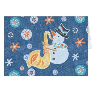 Música do feriado do Natal do fazer do boneco de Cartão De Nota