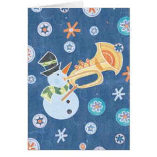 Música do feriado do Natal do fazer do boneco de Cartão Comemorativo