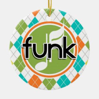 Música do funk; Teste padrão colorido de Argyle Ornamento De Cerâmica Redondo