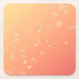 Música do pêssego porta-copo de papel quadrado