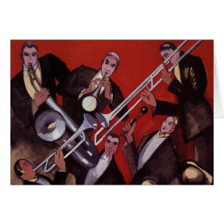 Música do vintage, bloqueio musical da banda de ja cartões