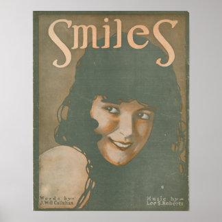 Música do vintage dos sorrisos poster