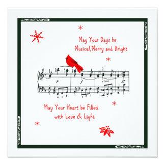 Música e cartão de Natal cardinal vermelho do Convite Quadrado 13.35 X 13.35cm
