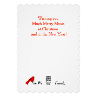 Música e cartão de Natal vermelho cardinal do Convites