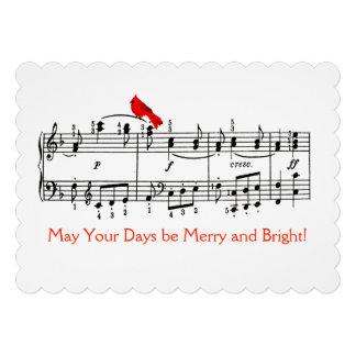 Música e cartão de Natal vermelho do pássaro Convite Personalizado