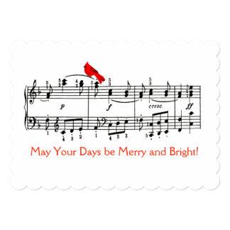 Música e cartão de Natal vermelho do pássaro Convite 12.7 X 17.78cm
