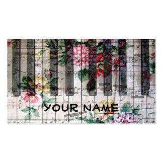 música feminino do vintage do piano do teclado do cartão de visita
