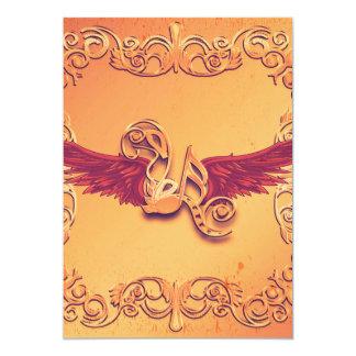 Música, notas chaves com asas convite 12.7 x 17.78cm
