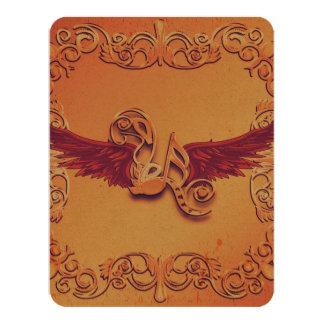 Música, notas chaves com asas convite 10.79 x 13.97cm