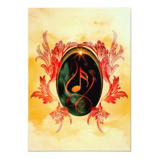 Música, notas chaves com damascos elegantes, convite 12.7 x 17.78cm