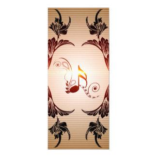 Música, notas chaves com elementos florais, convites