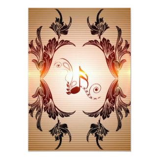 Música, notas chaves com elementos florais, convite 12.7 x 17.78cm