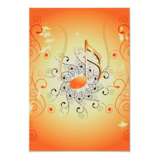 Música, notas chaves com elementos florais convite 8.89 x 12.7cm