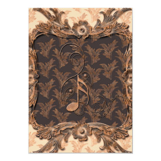 Música, notas chaves e elementos florais convite 12.7 x 17.78cm