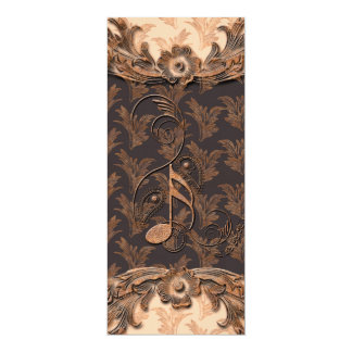 Música, notas chaves e elementos florais convite 10.16 x 23.49cm