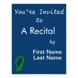 música ornamentado preta verde design.png da harpa convite 10.79 x 13.97cm