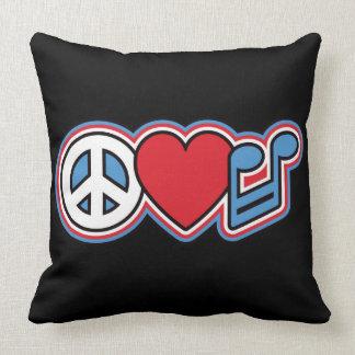 Música patriótica do amor da paz almofada