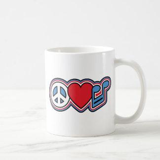 Música patriótica do amor da paz caneca de café