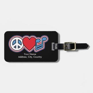 Música patriótica do amor da paz etiqueta de bagagem