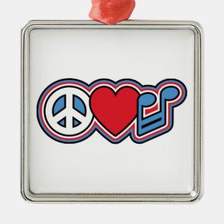 Música patriótica do amor da paz ornamento de metal