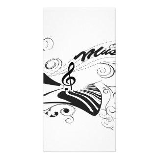 Música, piano e clef com elementos florais cartão com foto