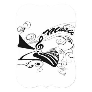 Música, piano e clef com elementos florais convite 12.7 x 17.78cm