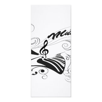 Música, piano e clef com elementos florais convite 10.16 x 23.49cm