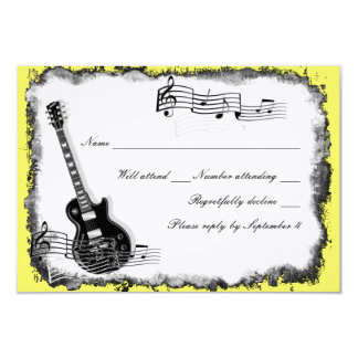 Música selvagem RSVP do amarelo da guitarra Convite 8.89 X 12.7cm