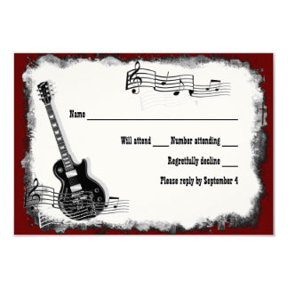 Música vermelha RSVP do preto da guitarra elétrica Convite 8.89 X 12.7cm