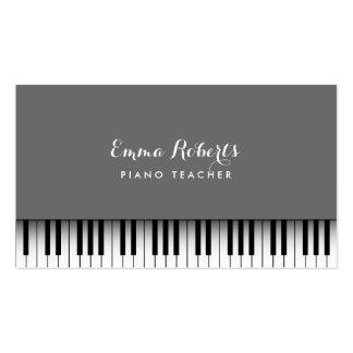 Musical cinzento da planície do teclado de piano cartão de visita