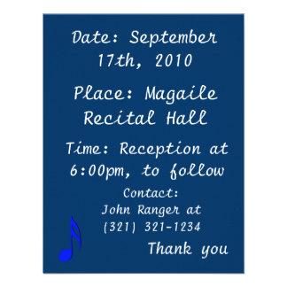 musical do preto azul de oitava nota convites personalizados