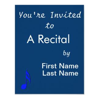 musical do preto azul de oitava nota convite 10.79 x 13.97cm