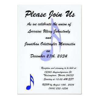 musical do preto azul de oitava nota convite 12.7 x 17.78cm