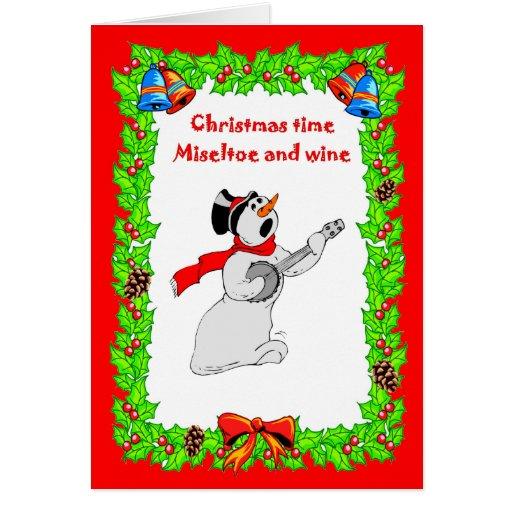 , Músico do boneco de neve do cartão de Natal