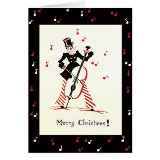 Músico do violoncelo do cartão do natal vintage