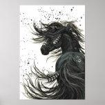 Mustang majestoso pelo poster preto do cavalo de B