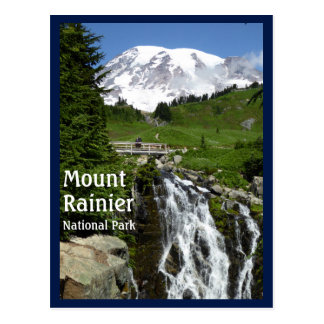 Myrtle cai (o Monte Rainier N.P.) com texto Cartão Postal
