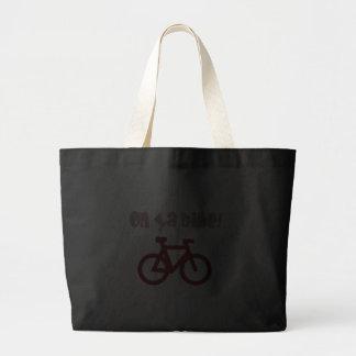 Na bicicleta de Ya! (texto cor-de-rosa & bicicleta Bolsas Para Compras