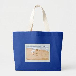 Na criança do vintage do beira-mar pelo mar sacola tote jumbo